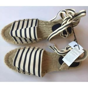 GAP Espadrille Sandals Ankle Strap Striped